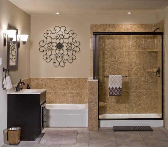 Living In The Rain Garden Bathroom Renovation: Traditional Bathroom Remodel With Separate Shower & Bathtub