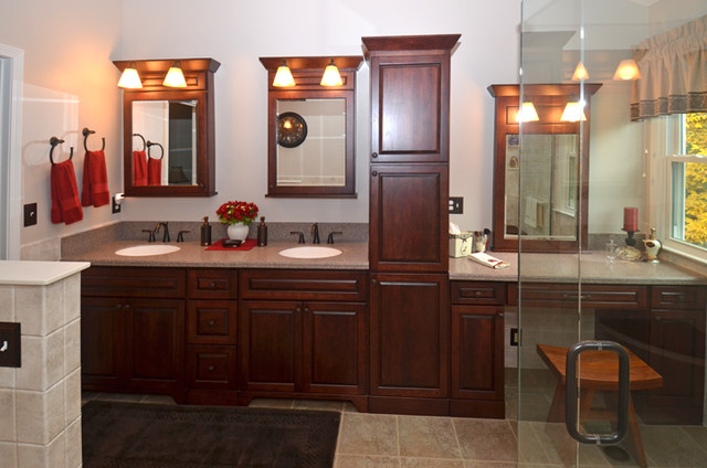 Traditional Bathroom Remodel with View of Unique Storage Tower and Double Sinks