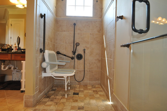 Traditional bathroom - Handicapped accessible bathroom plans ...