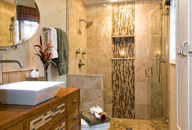 waterfall tiled bathroom. Black Bedroom Furniture Sets. Home Design Ideas
