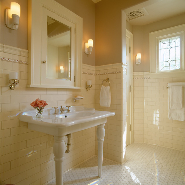 Traditional Bathroom Tile And Pedestal Dhd Traditional