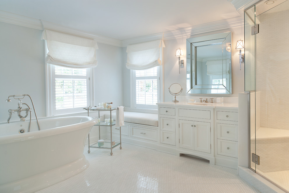 Example of a classic corner shower design in New York