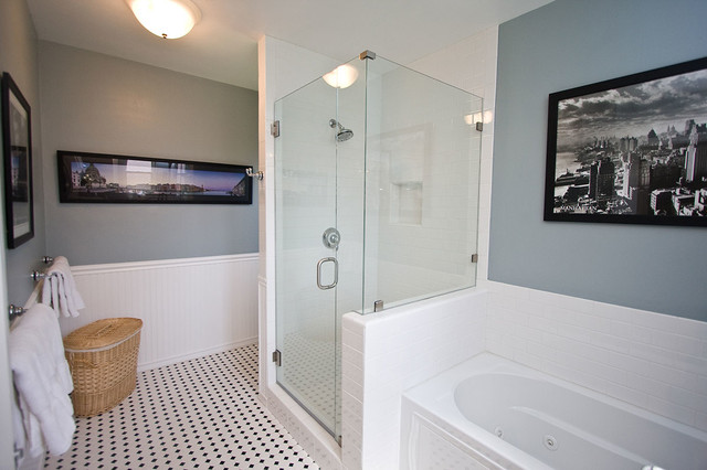 Bathroom - traditional white tile and subway tile mosaic tile floor bathroom idea in Los Angeles