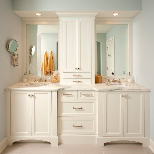 Cream Bathroom Vanity Cabinets White Countertops