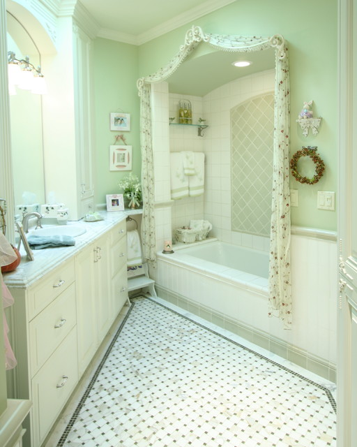 Traditional Green And White Bathroom Traditional