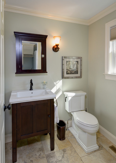 half tiled bathroom traditional half bath remodel crown molding tile floor 13057