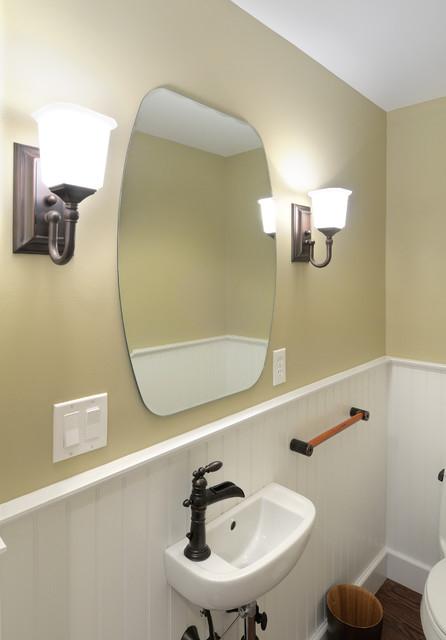 Traditional Half Bathroom Remodel Beadboard Wall Sconce Traditional Bathroom