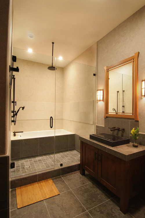 What are the dimensions of the wet area tub shower for Bathroom designs japanese style