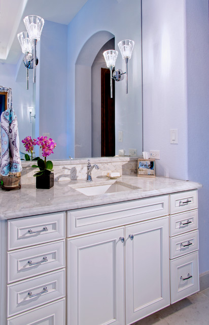 ... Bath with Painted White Cabinets & Carrera Marble traditional-bathroom
