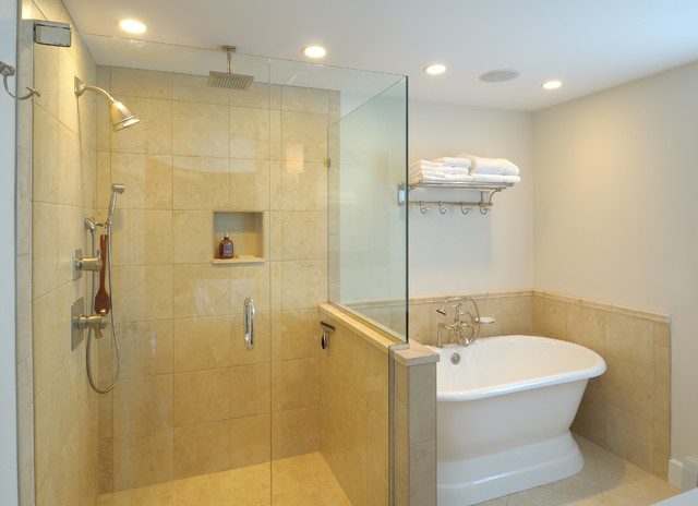 Traditional master bathroom remodel with soaking tub for Custom tubs and showers