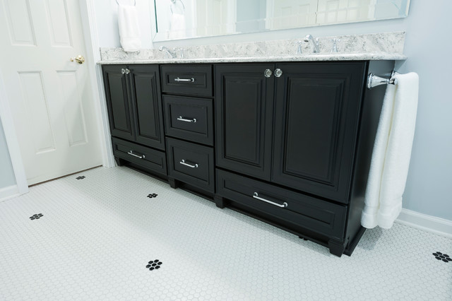Superior Traditional Master Bathroom With Dark Wood Vanity U0026 Penny Tile Floor  Traditional Bathroom