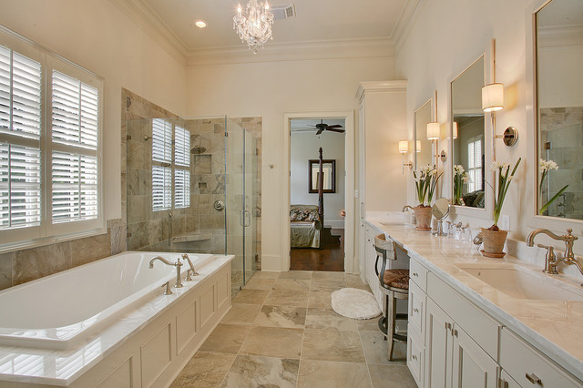 Traditional master suite traditional bathroom new orleans by highland homes inc Bathroom design in master bedroom