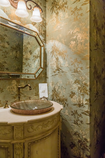 Traditional Powder Room With Blue And Gold Chinoiserie