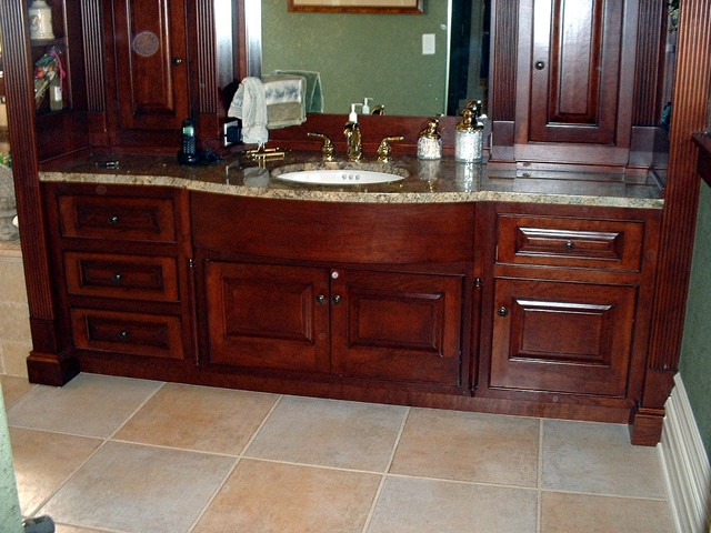 Traditional Style Cherry Wood Master Bath Vanity Bathroom