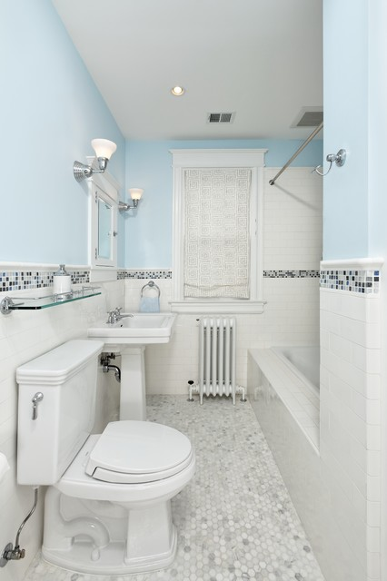 Traditional Subway Tile Bathroom Transitional