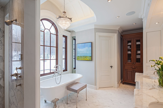 Traditional tudor style home with french interiors for Tudor bathroom design