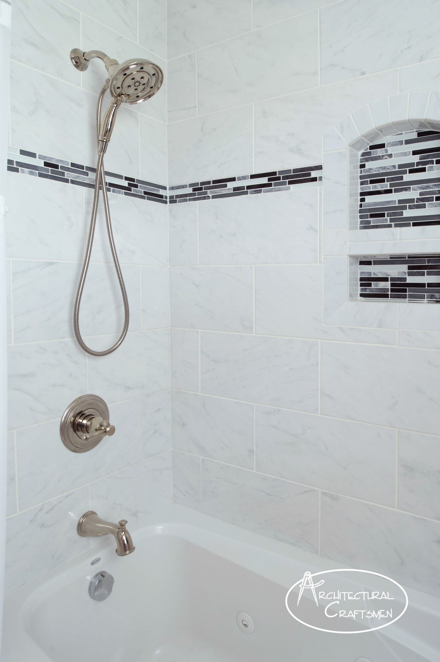 Traditional White and Gray Bathroom
