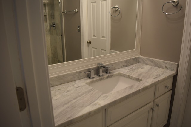Traditional White Marble Bath With Shadow Storm Granite