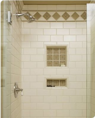 Traditional White Subway Tile Shower With 2 Shower Niches