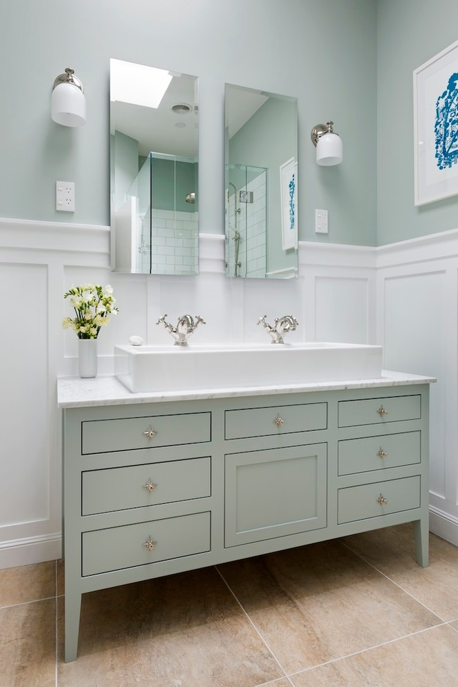 Bathroom - mid-sized traditional master white tile and ceramic tile porcelain tile bathroom idea in Auckland with a trough sink, furniture-like cabinets, green cabinets, marble countertops and green walls
