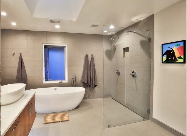 Transformed ranch house contemporary bathroom for Modern ranch bathroom
