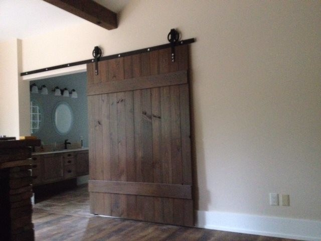 Interior sliding door hardware - Transitional Barn Door Extra Wide Transitional Bathroom Toronto