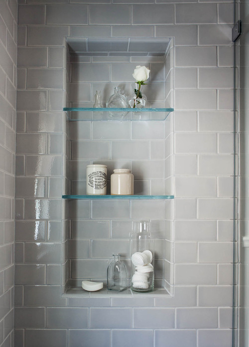 Beautiful serene bathroom are the glass shelves in the for Bathroom glass shelves