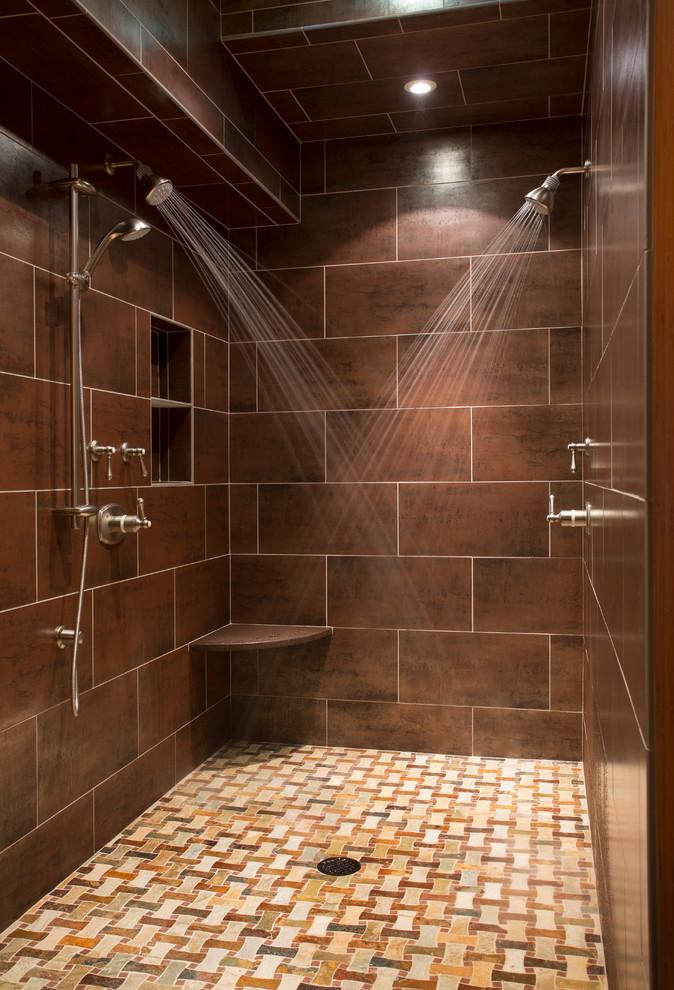 Double shower - transitional double shower idea in Boston