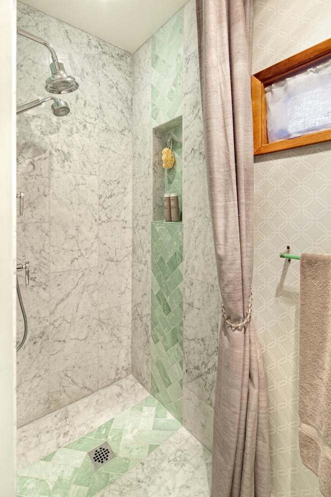 Inspiration for a transitional subway tile bathroom remodel in Portland