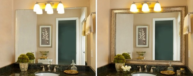 Framing A Bathroom Mirror Before And After mirrormate mirror frame before & after - transitional - bathroom
