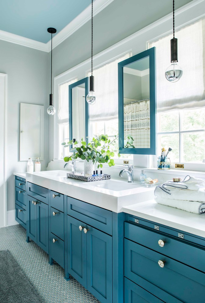 Transitional kids' porcelain tile and gray floor bathroom photo in Atlanta with gray walls, quartz countertops, shaker cabinets and blue cabinets