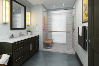 shower with wooden grab bars