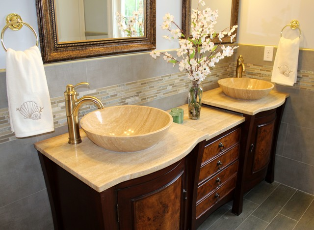 Transitional Bathroom With Travertine Stone Top Vessel