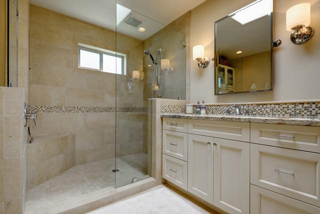 Transitional Cream Bathroom