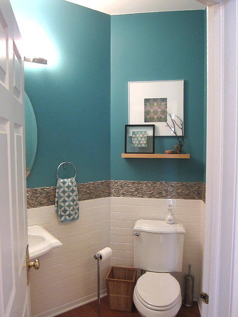 Transitional eclectic tropical powder room for Teal and white bathroom ideas
