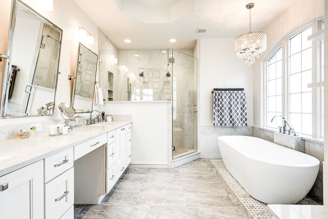 Inspiration For A Large Transitional Master White Tile And Marble Porcelain Floor Gray