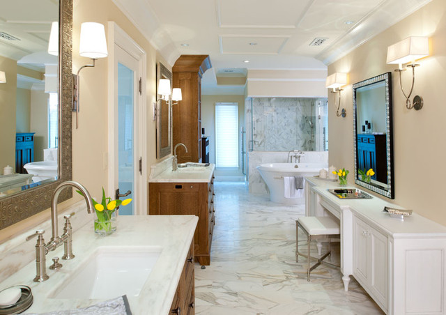 Example of a large classic master marble floor bathroom design in Other with an undermount sink, recessed-panel cabinets, white cabinets, marble countertops and beige walls