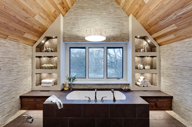 Transitional master bath contemporary bathroom for Bathroom design chicago