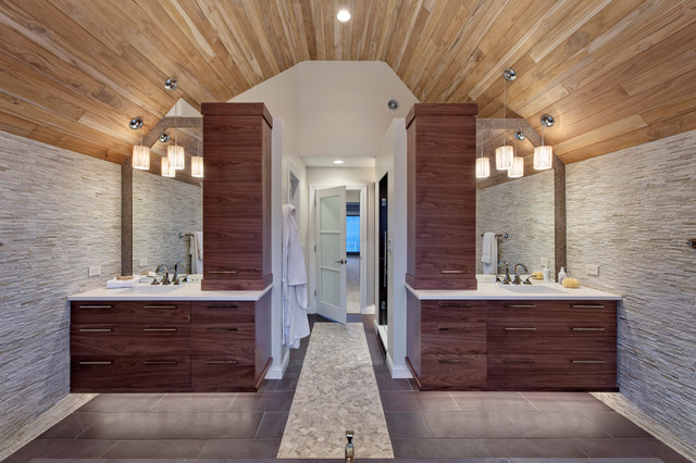 Master Bathroom His And Hers transitional master bath - contemporary - bathroom - chicago -