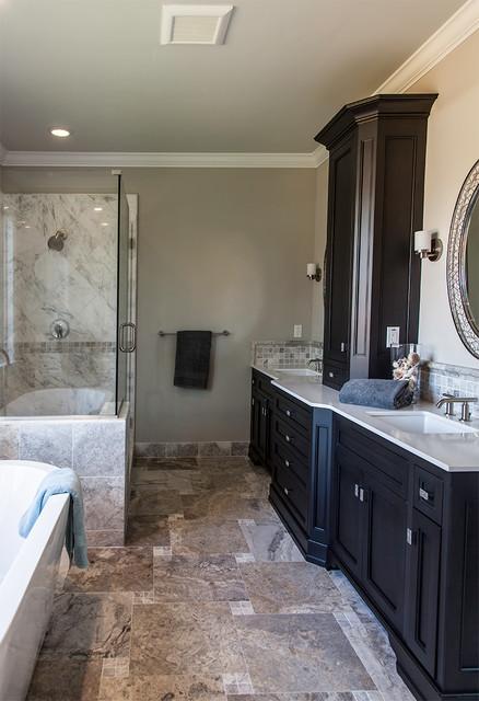 Transitional master bath eclectic-bathroom