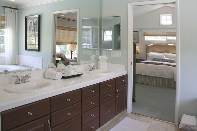 Exceptional Example Of A Transitional Master White Tile And Porcelain Tile Bathroom  Design In Los Angeles With
