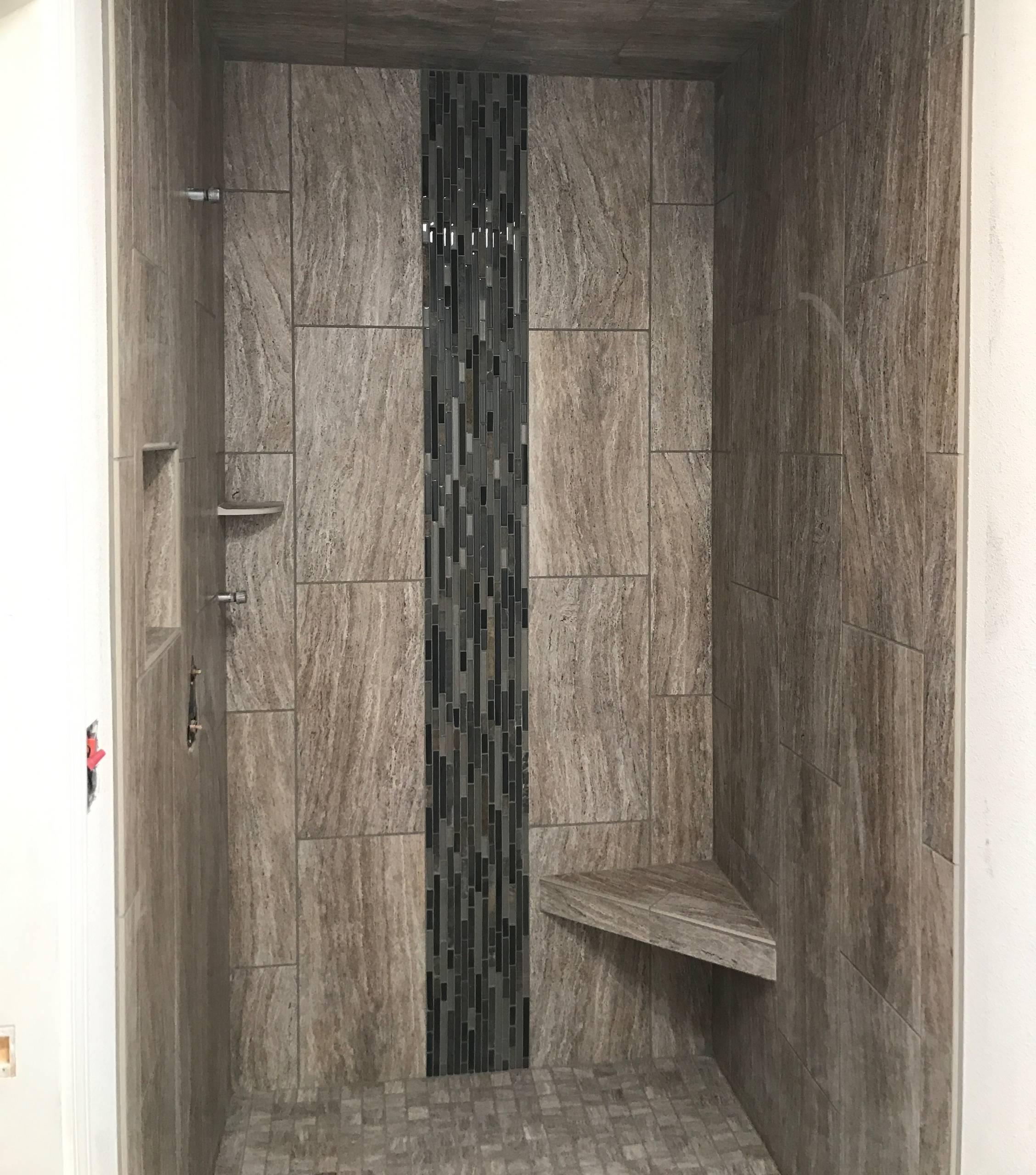 Transitional Shower with Waterfall Mosaic -Stockton, CA