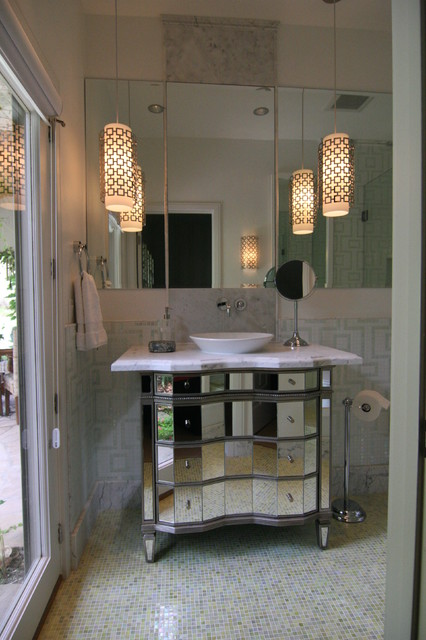 Transitional space with a unique look contemporary-bathroom
