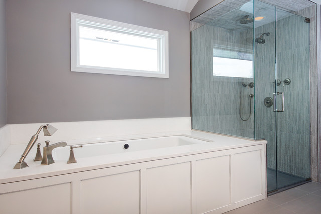 Transitional White And Gray Master Bath Willowbrook