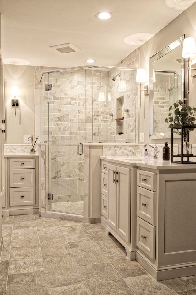 Transitional White Bathroom Remodel - Transitional ...