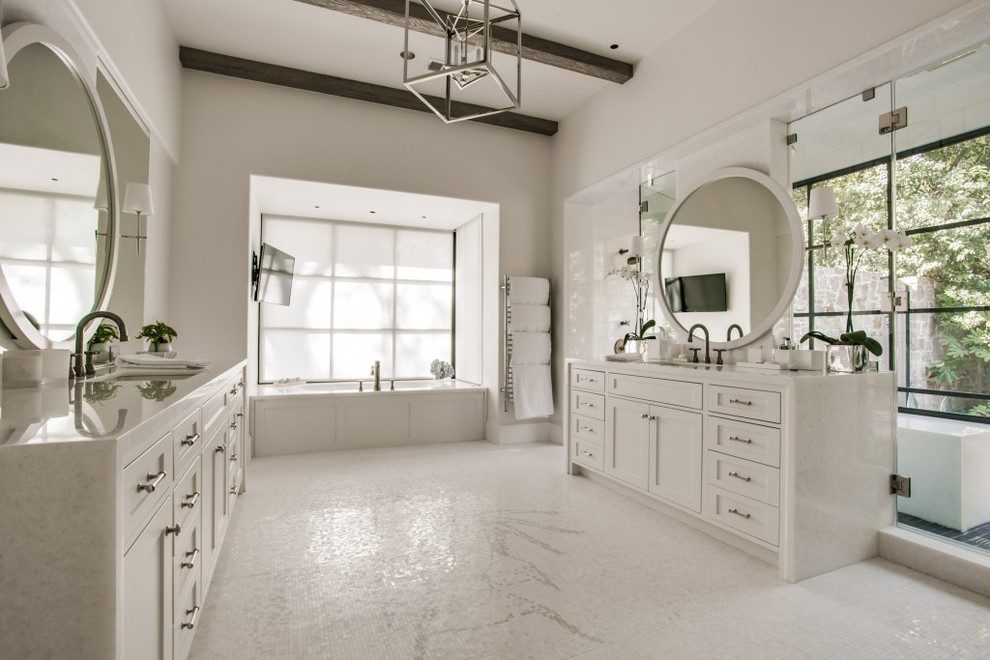 Transitional White Marble Master Bath - Transitional ...