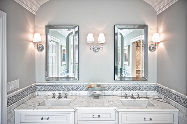Transitional Master Bathroom Ideas : Transitional white master bath bathroom