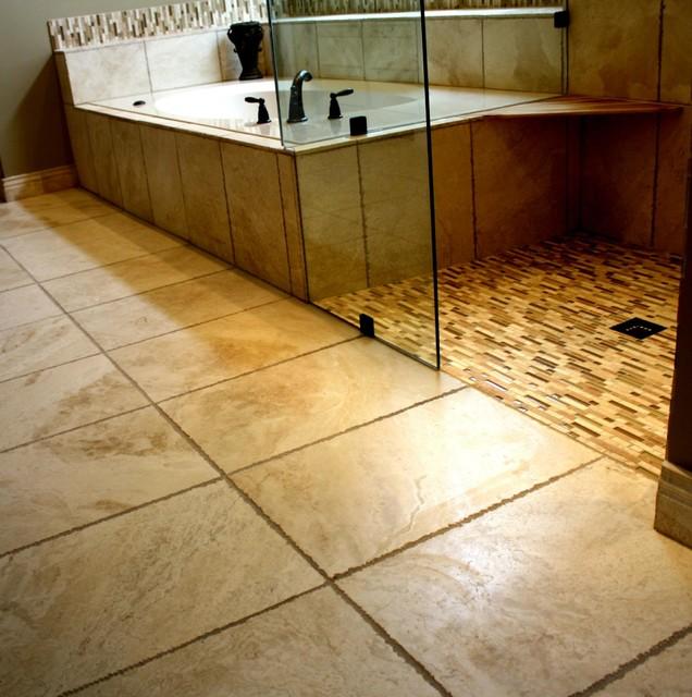 Travertine And Glass Mosaic Traditional Bathroom Atlanta By Change Your Bathroom Inc