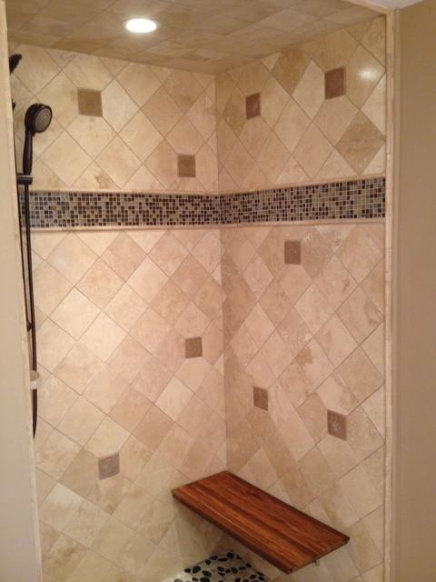 Travertine & Glass Shower contemporary-bathroom