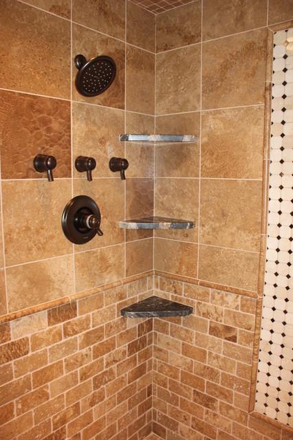 Travertine & Marble Master Bathroom bathroom